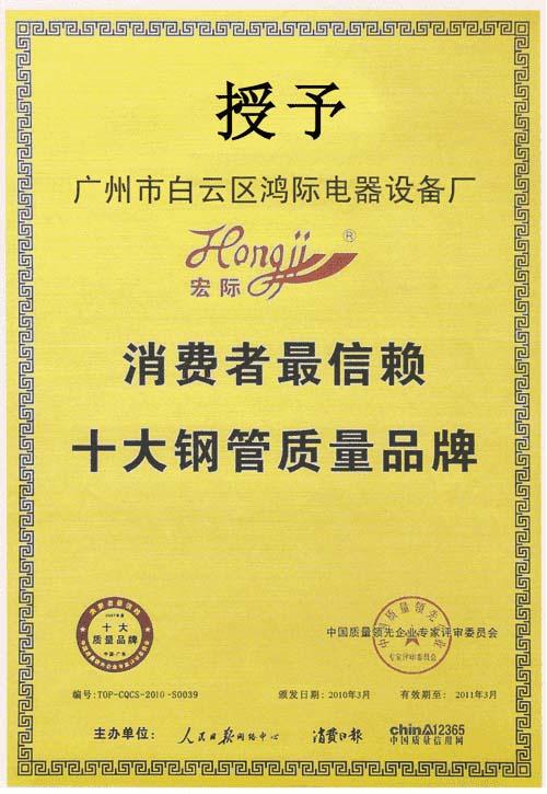 十大钢管质量品牌证书