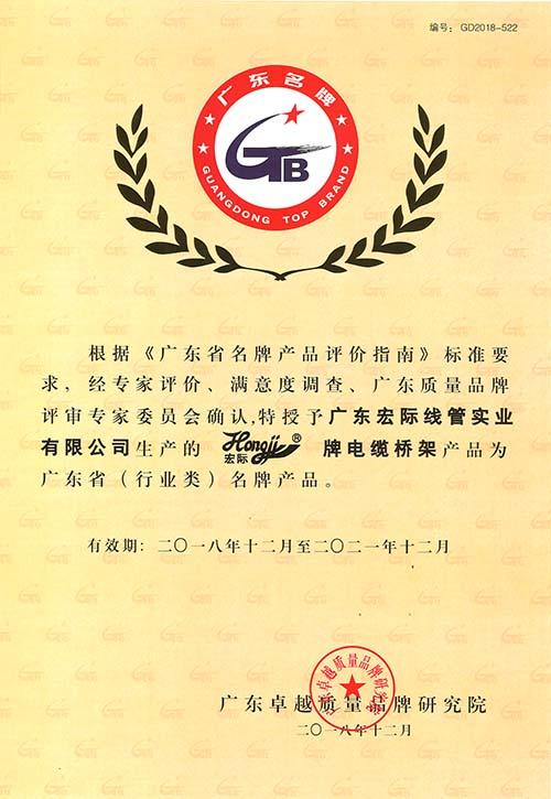 广东省(行业类)名牌产品证书