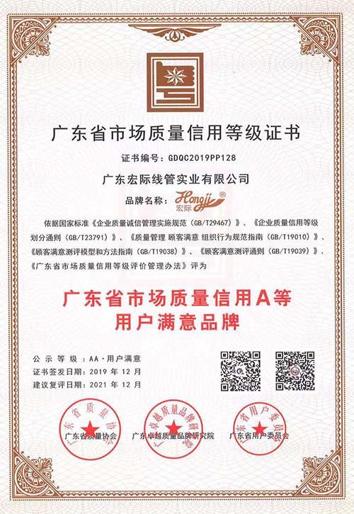 广东省质量信用等级证书